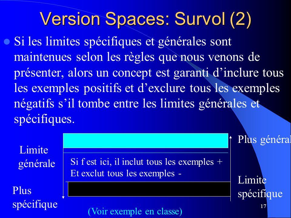 17 Version Spaces: Survol (2) Si les limites spécifiques et générales sont maintenues selon les règles que nous venons de présenter, alors un concept