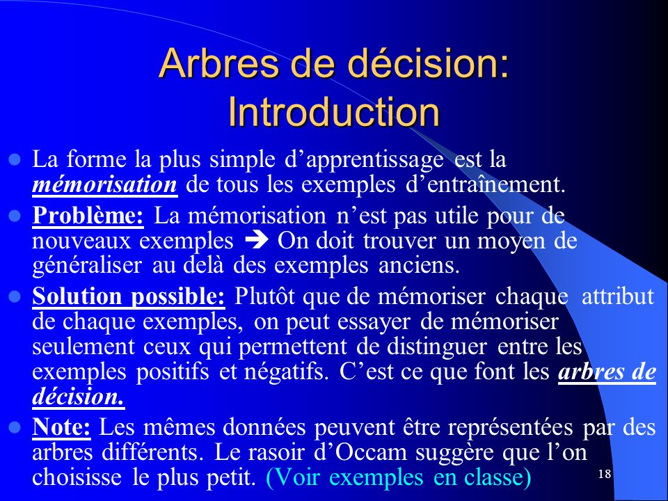 18 Arbres de décision: Introduction La forme la plus simple dapprentissage est la mémorisation de tous les exemples dentraînement. Problème: La mémori