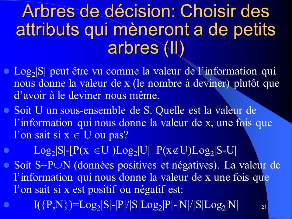 21 Arbres de décision: Choisir des attributs qui mèneront a de petits arbres (II) Log 2 |S| peut être vu comme la valeur de linformation qui nous donn