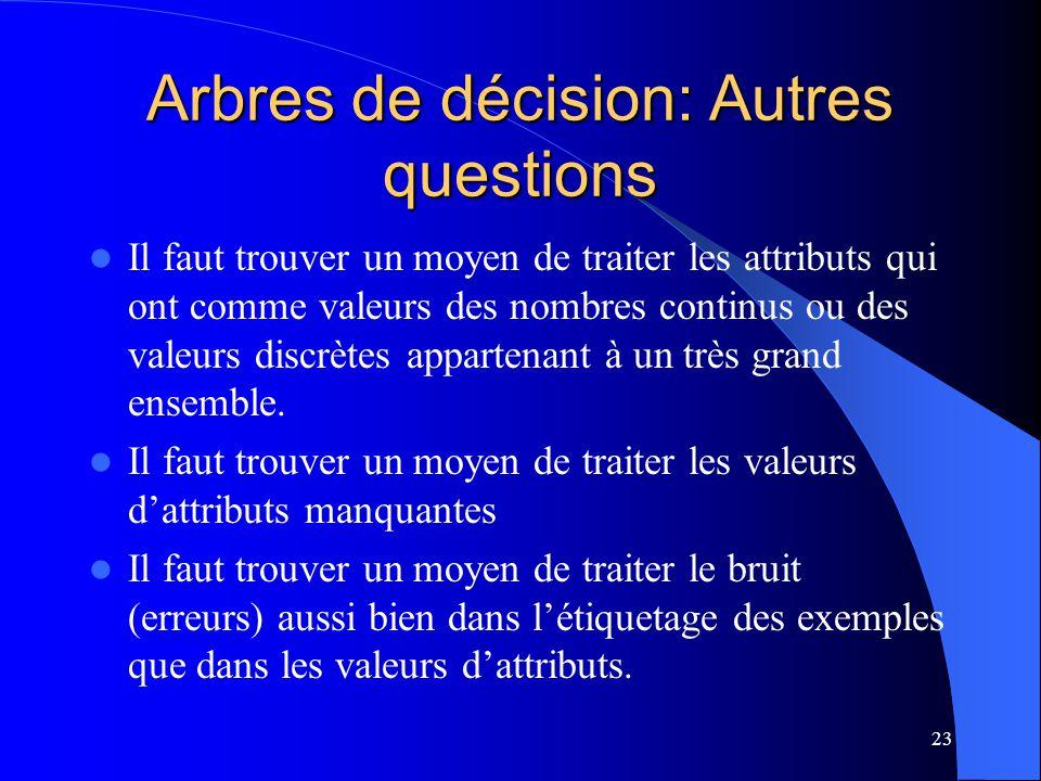 23 Arbres de décision: Autres questions Il faut trouver un moyen de traiter les attributs qui ont comme valeurs des nombres continus ou des valeurs di