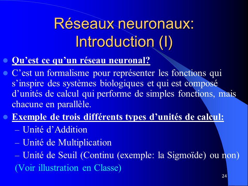 24 Réseaux neuronaux: Introduction (I) Quest ce quun réseau neuronal? Cest un formalisme pour représenter les fonctions qui sinspire des systèmes biol