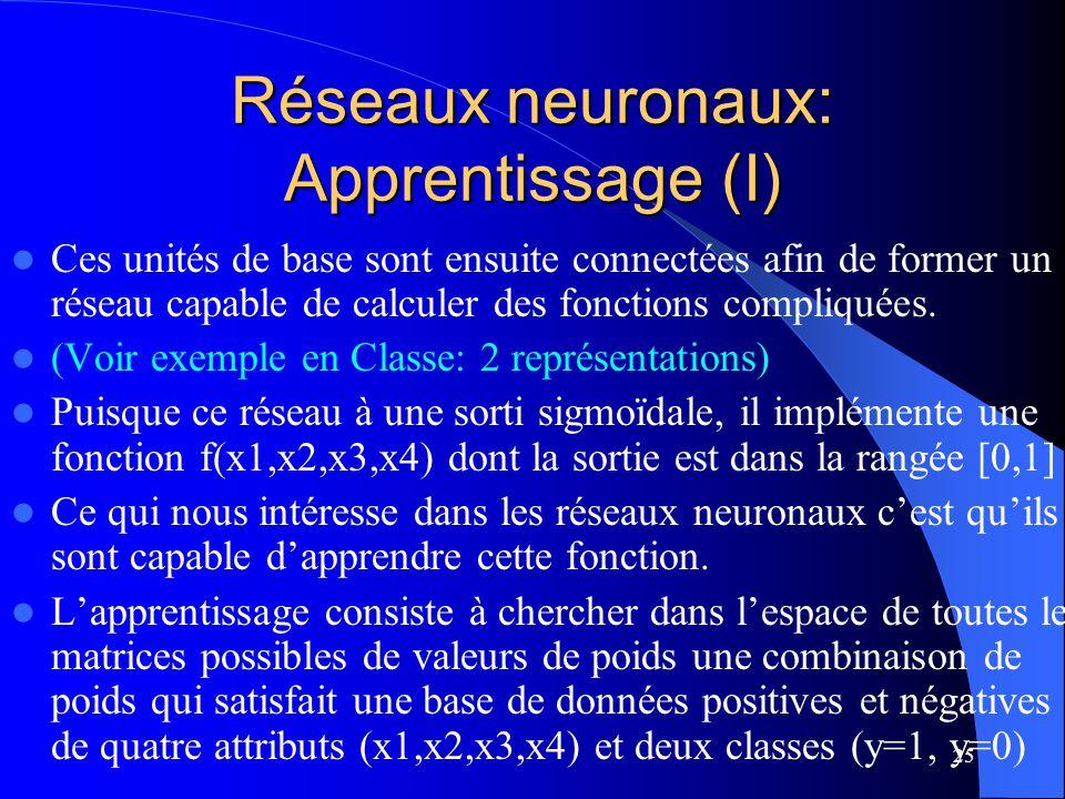 25 Réseaux neuronaux: Apprentissage (I) Ces unités de base sont ensuite connectées afin de former un réseau capable de calculer des fonctions compliqu