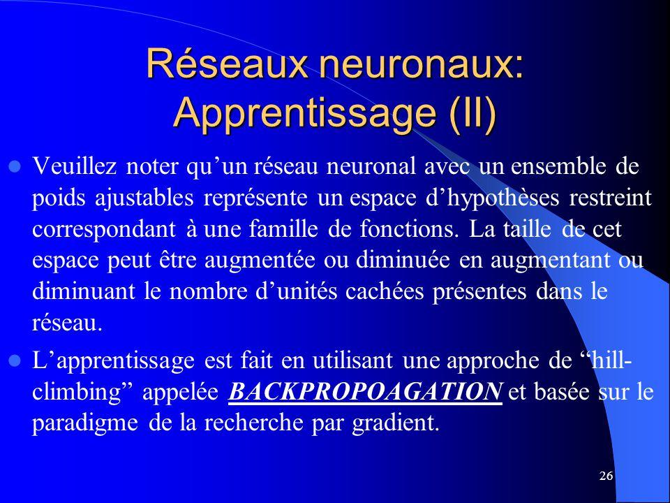 26 Réseaux neuronaux: Apprentissage (II) Veuillez noter quun réseau neuronal avec un ensemble de poids ajustables représente un espace dhypothèses res
