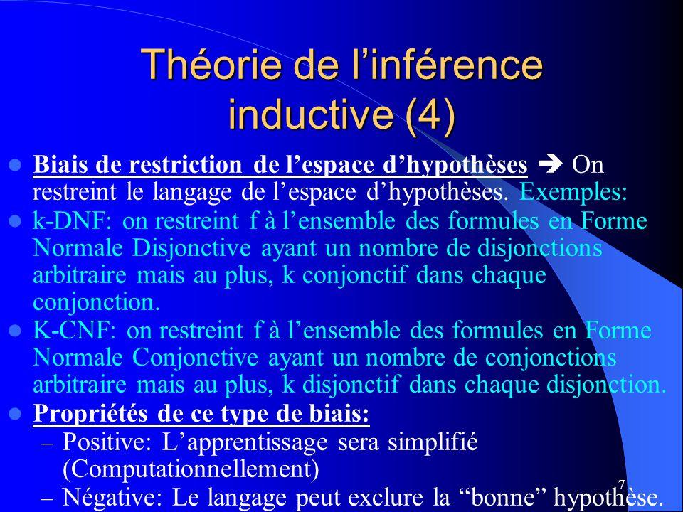 7 Théorie de linférence inductive (4) Biais de restriction de lespace dhypothèses On restreint le langage de lespace dhypothèses. Exemples: k-DNF: on