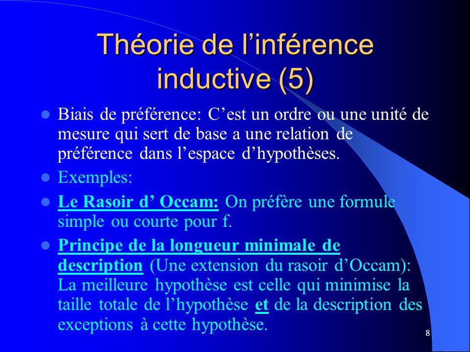 8 Théorie de linférence inductive (5) Biais de préférence: Cest un ordre ou une unité de mesure qui sert de base a une relation de préférence dans les