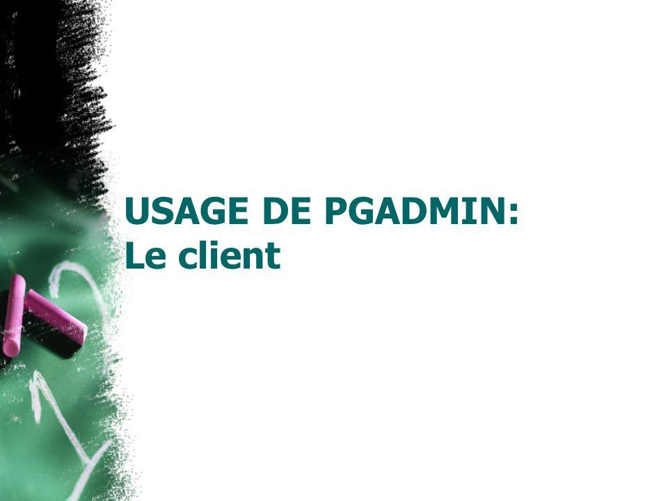 Using pgAdmin III at SITE Allez sur: Start Menu Program Files pgAdmin III 1.6 pgAdmin III Cliquez sur: File Add Server