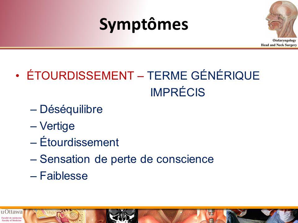 Symptômes ÉTOURDISSEMENT – TERME GÉNÉRIQUE IMPRÉCIS –Déséquilibre –Vertige –Étourdissement –Sensation de perte de conscience –Faiblesse