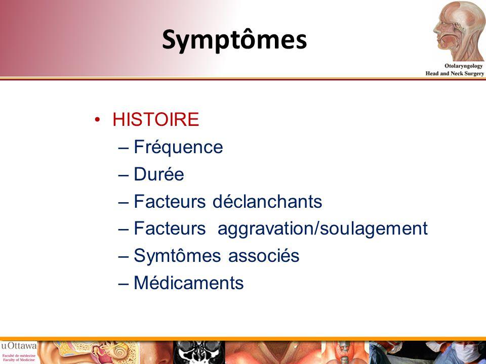 Symptômes HISTOIRE –Fréquence –Durée –Facteurs déclanchants –Facteurs aggravation/soulagement –Symtômes associés –Médicaments