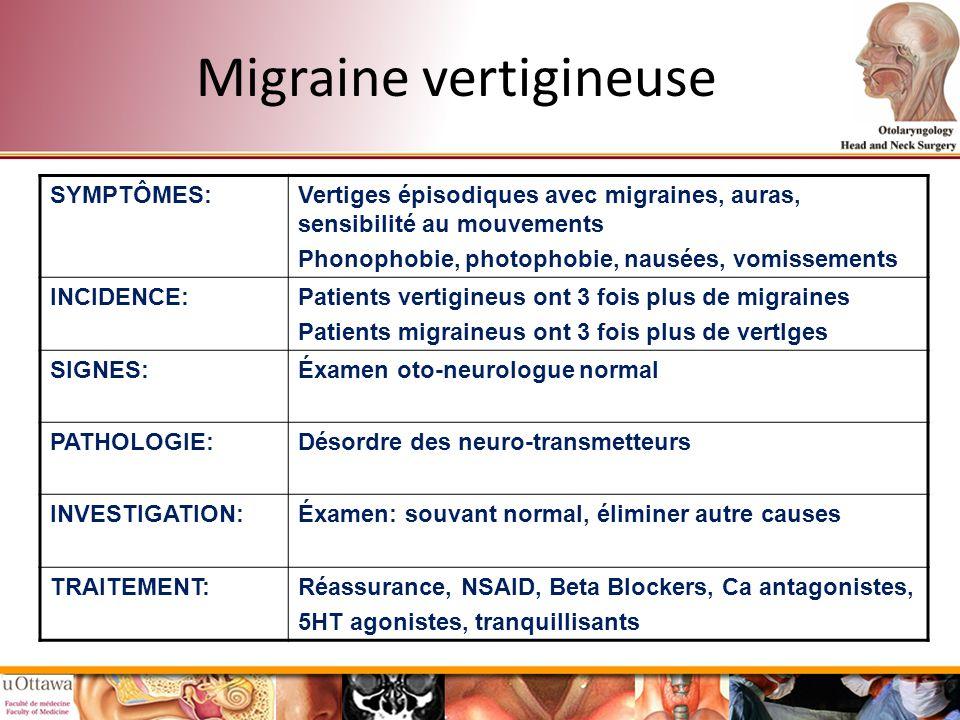 Migraine vertigineuse SYMPTÔMES:Vertiges épisodiques avec migraines, auras, sensibilité au mouvements Phonophobie, photophobie, nausées, vomissements