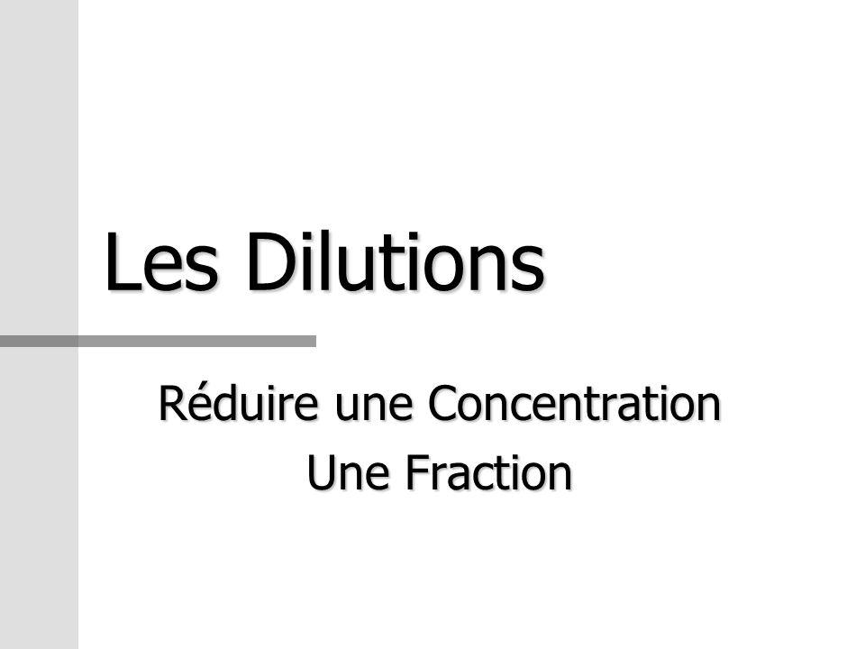 Les Dilutions Réduire une Concentration Une Fraction