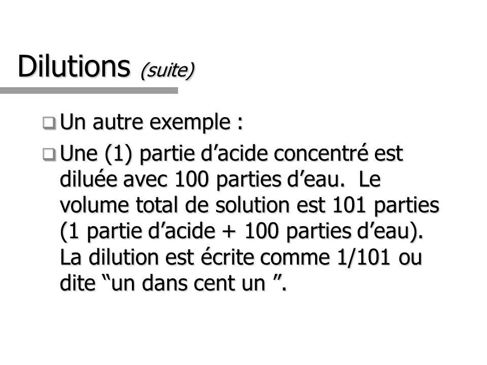 Dilutions (suite) Un autre exemple : Un autre exemple : Une (1) partie dacide concentré est diluée avec 100 parties deau.