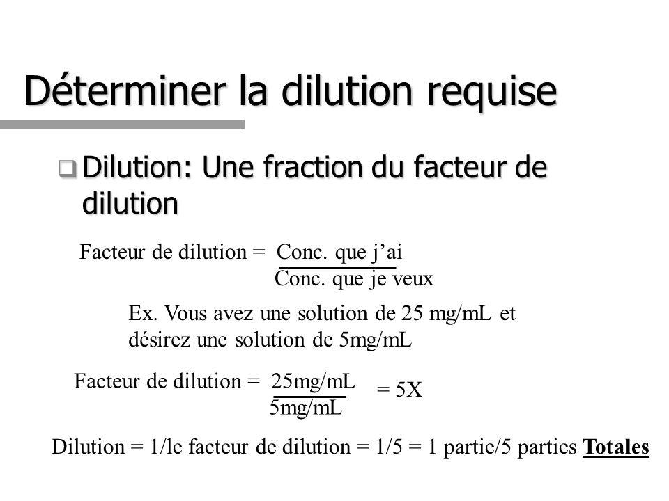 Déterminer la dilution requise Dilution: Une fraction du facteur de dilution Dilution: Une fraction du facteur de dilution Ex.