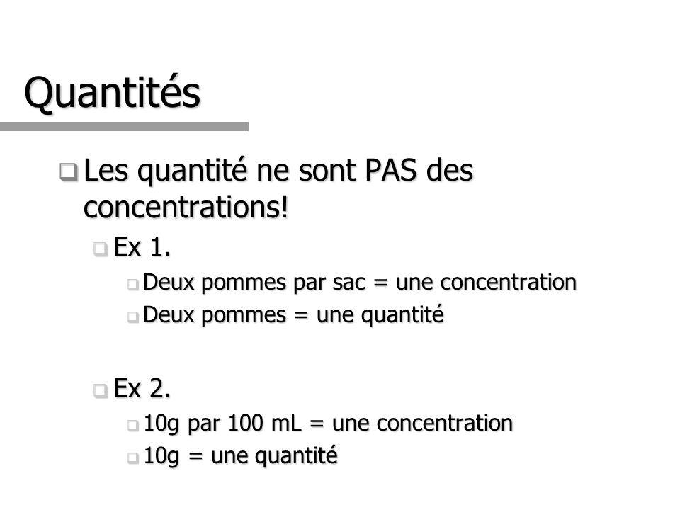 Quantités Les quantité ne sont PAS des concentrations.