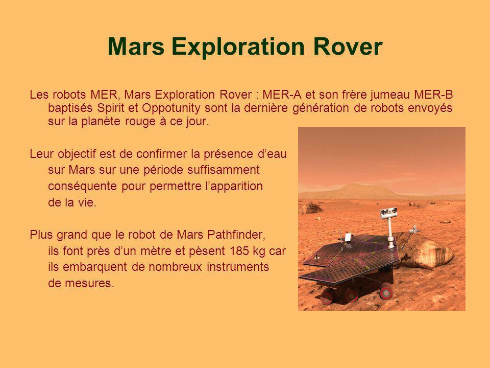 Mars Exploration Rover Les robots MER, Mars Exploration Rover : MER-A et son frère jumeau MER-B baptisés Spirit et Oppotunity sont la dernière génération de robots envoyés sur la planète rouge à ce jour.
