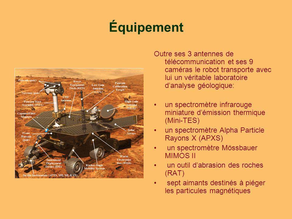 Équipement Outre ses 3 antennes de télécommunication et ses 9 caméras le robot transporte avec lui un véritable laboratoire danalyse géologique: un spectromètre infrarouge miniature démission thermique (Mini-TES) un spectromètre Alpha Particle Rayons X (APXS) un spectromètre Mössbauer MIMOS II un outil dabrasion des roches (RAT) sept aimants destinés à piéger les particules magnétiques