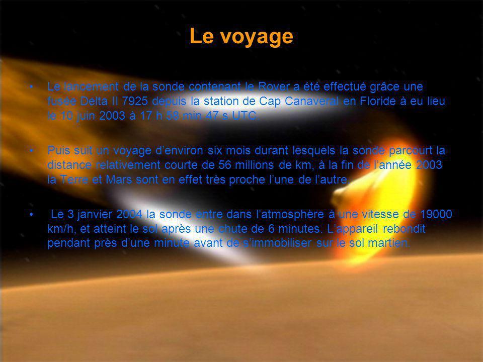 Le voyage Le lancement de la sonde contenant le Rover a été effectué grâce une fusée Delta II 7925 depuis la station de Cap Canaveral en Floride à eu lieu le 10 juin 2003 à 17 h 58 min 47 s UTC.