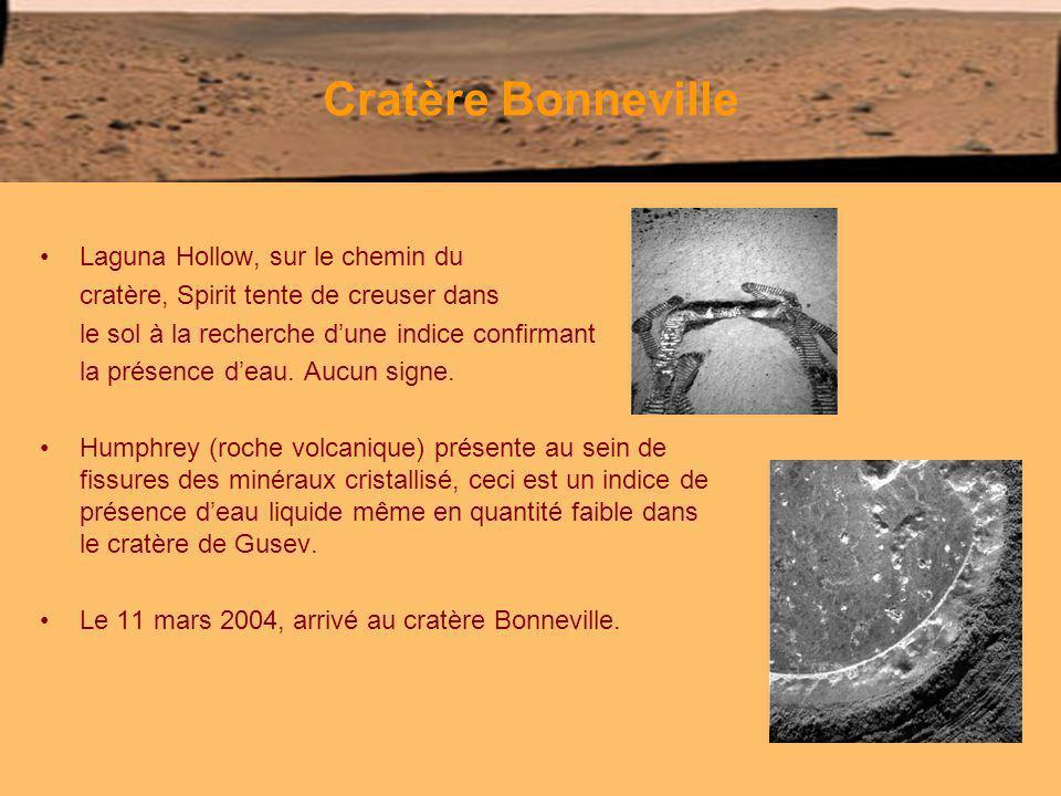 Cratère Bonneville Laguna Hollow, sur le chemin du cratère, Spirit tente de creuser dans le sol à la recherche dune indice confirmant la présence deau.