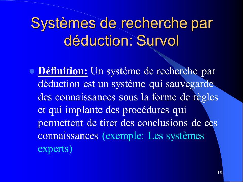 10 Systèmes de recherche par déduction: Survol Définition: Un système de recherche par déduction est un système qui sauvegarde des connaissances sous