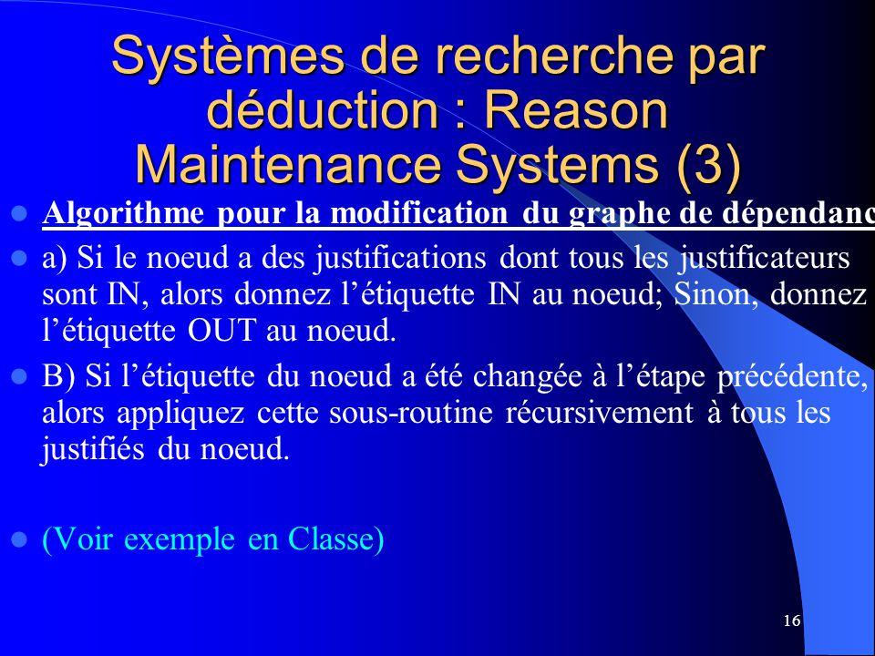 16 Systèmes de recherche par déduction : Reason Maintenance Systems (3) Algorithme pour la modification du graphe de dépendance a) Si le noeud a des j
