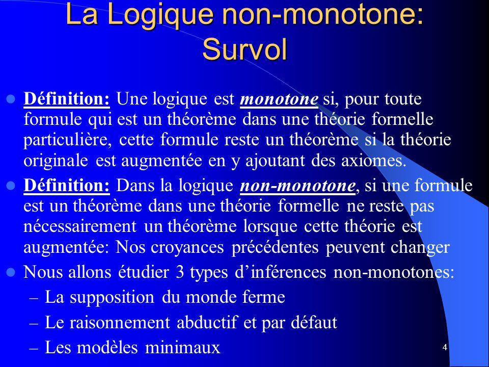 4 La Logique non-monotone: Survol Définition: Une logique est monotone si, pour toute formule qui est un théorème dans une théorie formelle particuliè