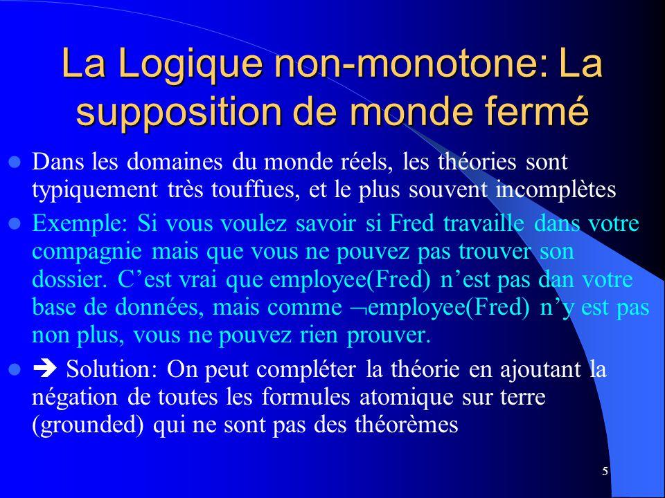 5 La Logique non-monotone: La supposition de monde fermé Dans les domaines du monde réels, les théories sont typiquement très touffues, et le plus sou