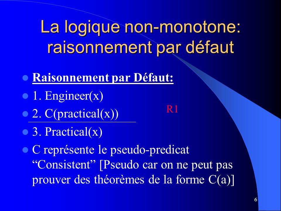 6 La logique non-monotone: raisonnement par défaut Raisonnement par Défaut: 1. Engineer(x) 2. C(practical(x)) 3. Practical(x) C représente le pseudo-p