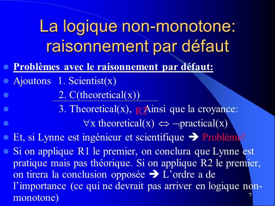 7 La logique non-monotone: raisonnement par défaut Problèmes avec le raisonnement par défaut: Ajoutons 1. Scientist(x) 2. C(theoretical(x)) 3. Theoret