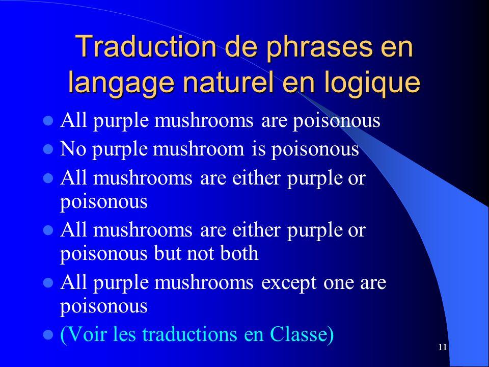 11 Traduction de phrases en langage naturel en logique All purple mushrooms are poisonous No purple mushroom is poisonous All mushrooms are either pur