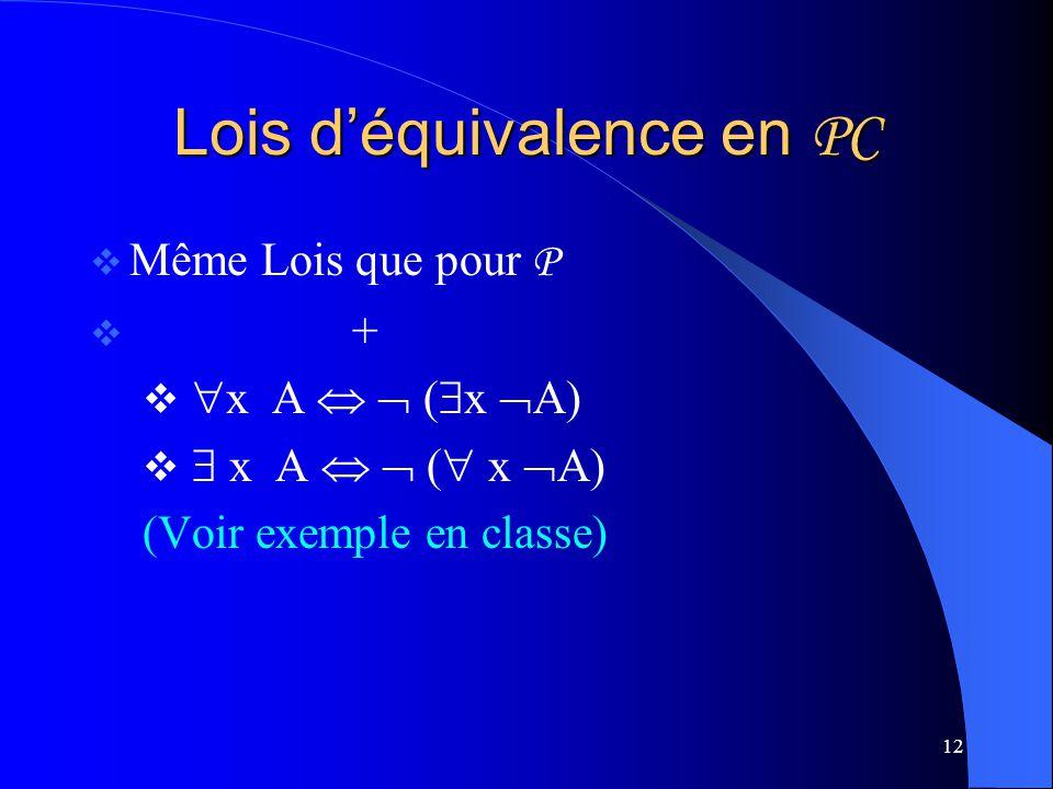 12 Lois déquivalence en PC Même Lois que pour P + x A ( x A) (Voir exemple en classe)