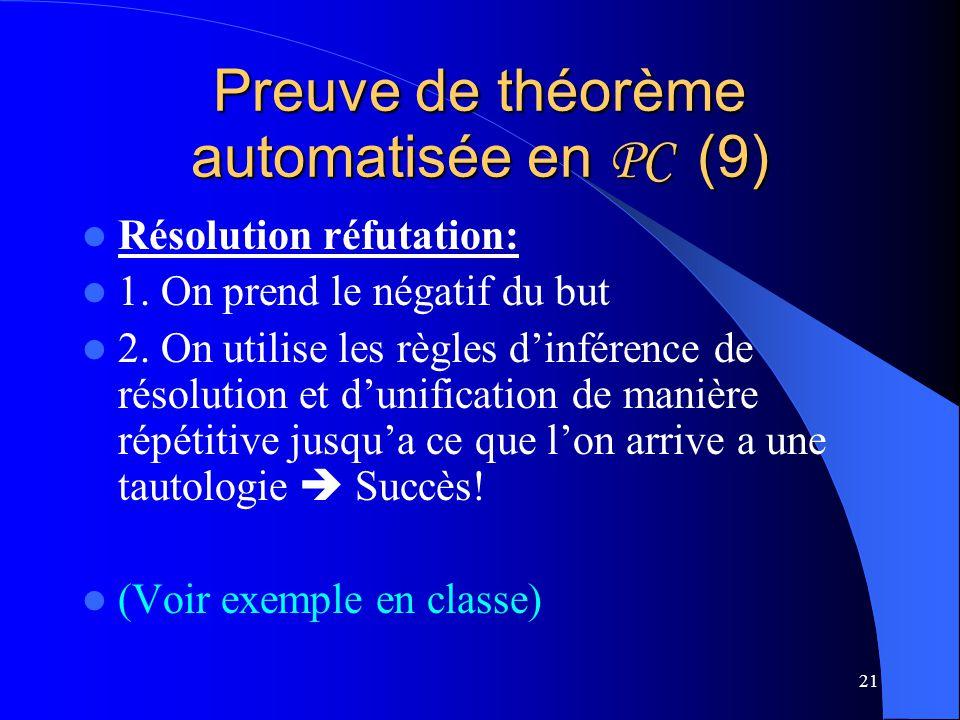 21 Preuve de théorème automatisée en PC (9) Résolution réfutation: 1. On prend le négatif du but 2. On utilise les règles dinférence de résolution et
