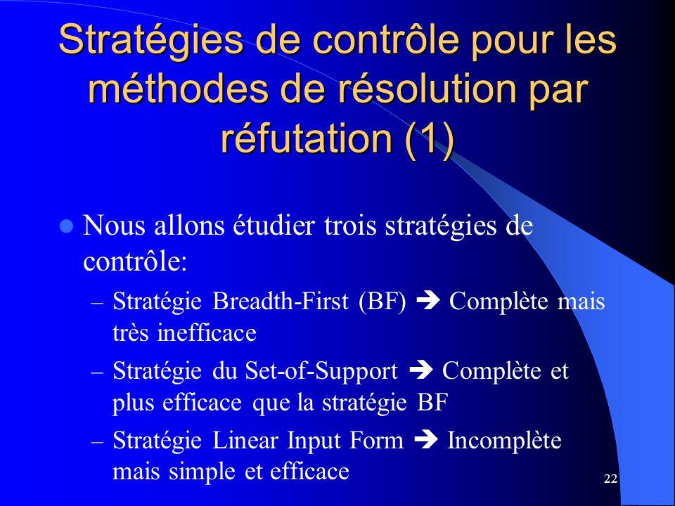 22 Stratégies de contrôle pour les méthodes de résolution par réfutation (1) Nous allons étudier trois stratégies de contrôle: – Stratégie Breadth-Fir
