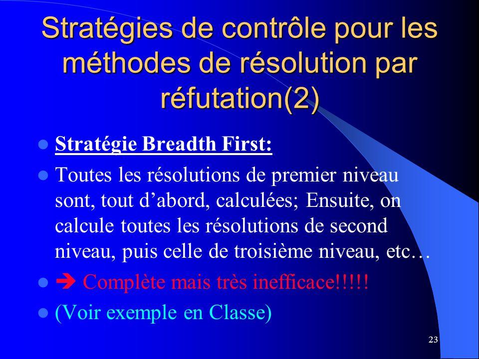23 Stratégies de contrôle pour les méthodes de résolution par réfutation(2) Stratégie Breadth First: Toutes les résolutions de premier niveau sont, to
