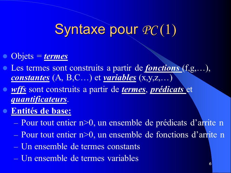 6 Syntaxe pour PC (1) Objets = termes Les termes sont construits a partir de fonctions (f,g,…), constantes (A, B,C…) et variables (x,y,z,…) wffs sont