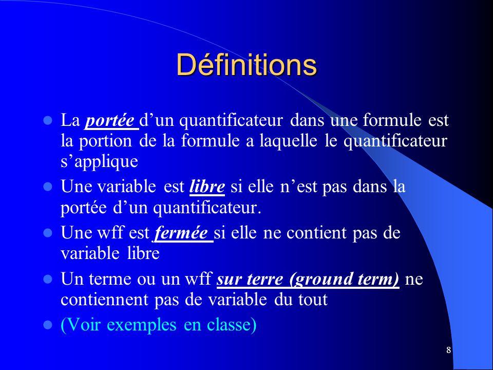 8 Définitions La portée dun quantificateur dans une formule est la portion de la formule a laquelle le quantificateur sapplique Une variable est libre