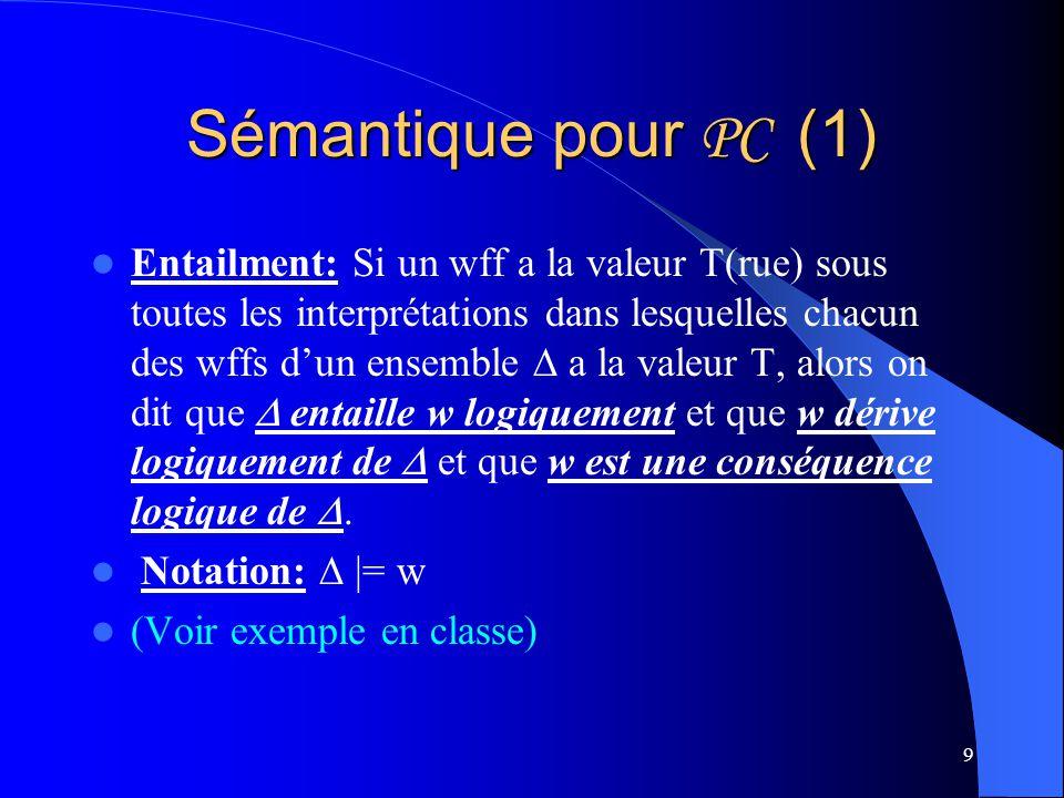 9 Sémantique pour PC (1) Entailment: Si un wff a la valeur T(rue) sous toutes les interprétations dans lesquelles chacun des wffs dun ensemble a la va
