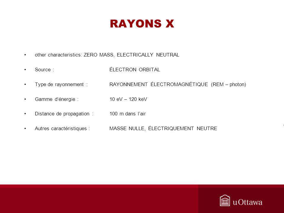 RAYONS X other characteristics: ZERO MASS, ELECTRICALLY NEUTRAL Source :ÉLECTRON ORBITAL Type de rayonnement : RAYONNEMENT ÉLECTROMAGNÉTIQUE (REM – ph