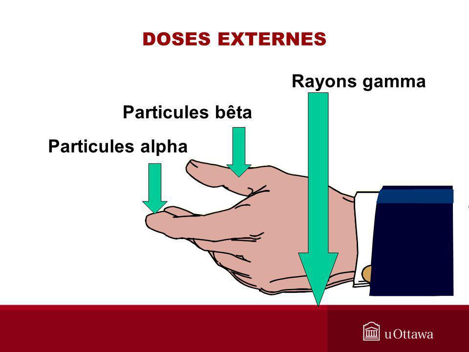 DOSES EXTERNES Particules alpha Particules bêta Rayons gamma