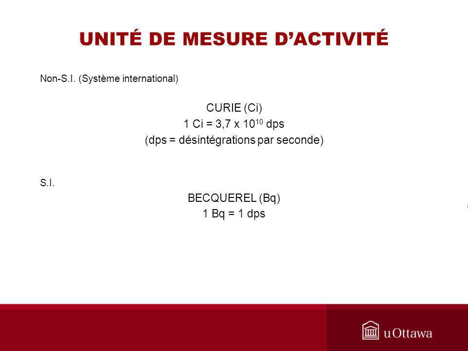 UNITÉ DE MESURE DACTIVITÉ Non-S.I. (Système international) CURIE (Ci) 1 Ci = 3,7 x 10 10 dps (dps = désintégrations par seconde) S.I. BECQUEREL (Bq) 1