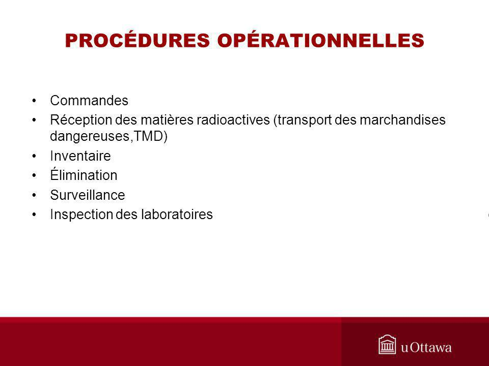 PROCÉDURES OPÉRATIONNELLES Commandes Réception des matières radioactives (transport des marchandises dangereuses,TMD) Inventaire Élimination Surveilla