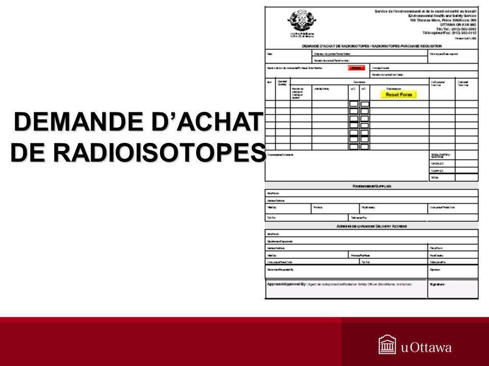 DEMANDE DACHAT DE RADIOISOTOPES