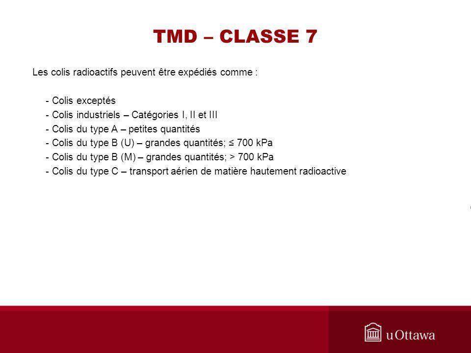TMD – CLASSE 7 Les colis radioactifs peuvent être expédiés comme : - Colis exceptés - Colis industriels – Catégories I, II et III - Colis du type A –