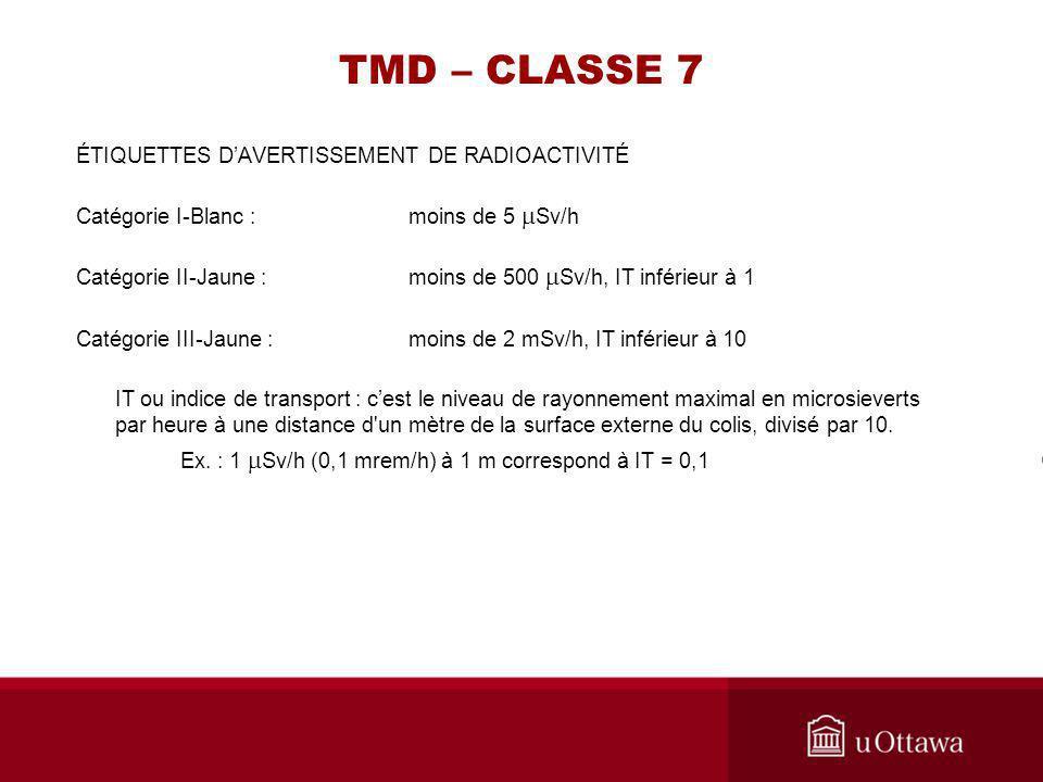 TMD – CLASSE 7 ÉTIQUETTES DAVERTISSEMENT DE RADIOACTIVITÉ Catégorie I-Blanc : moins de 5 Sv/h Catégorie II-Jaune : moins de 500 Sv/h, IT inférieur à 1