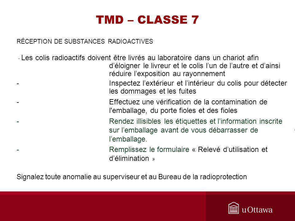 TMD – CLASSE 7 RÉCEPTION DE SUBSTANCES RADIOACTIVES - Les colis radioactifs doivent être livrés au laboratoire dans un chariot afin déloigner le livre
