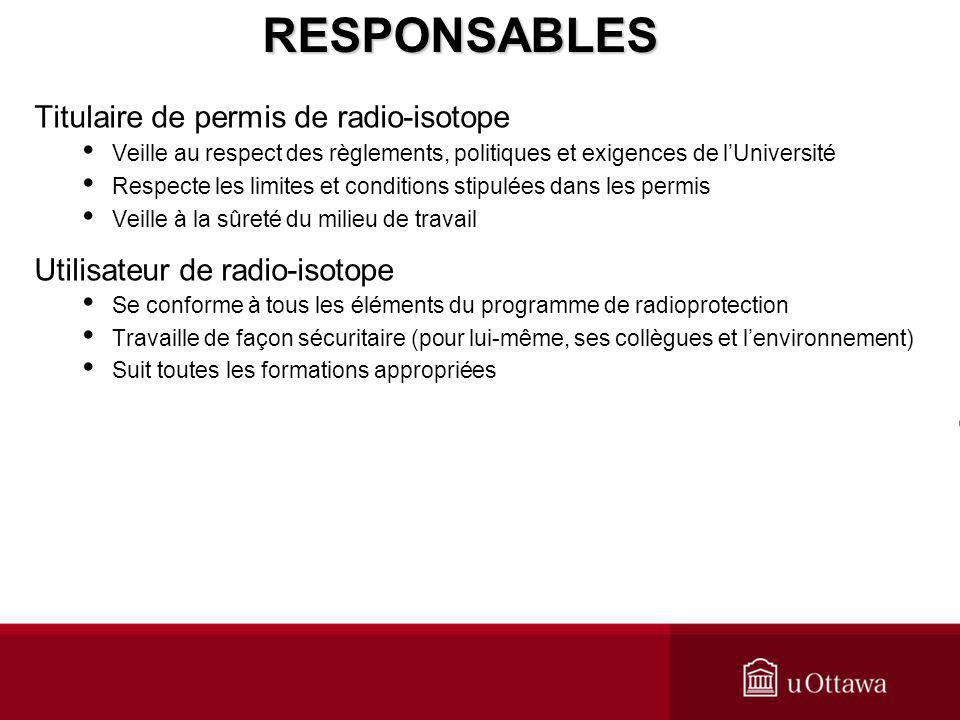 Titulaire de permis de radio-isotope Veille au respect des règlements, politiques et exigences de lUniversité Respecte les limites et conditions stipu