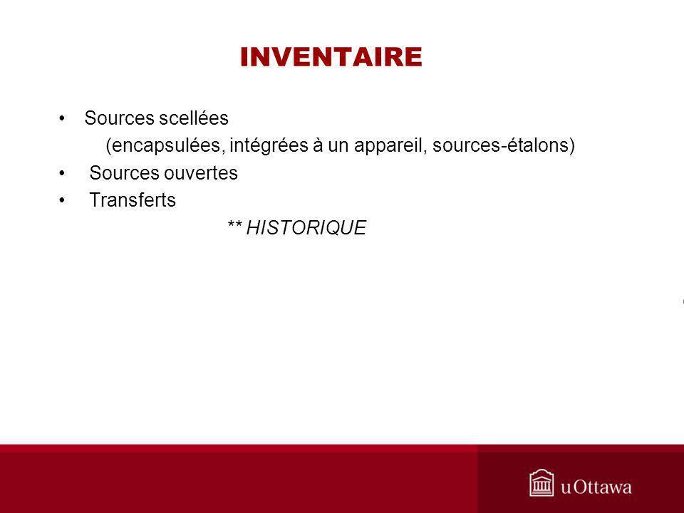 INVENTAIRE Sources scellées (encapsulées, intégrées à un appareil, sources-étalons) Sources ouvertes Transferts ** HISTORIQUE