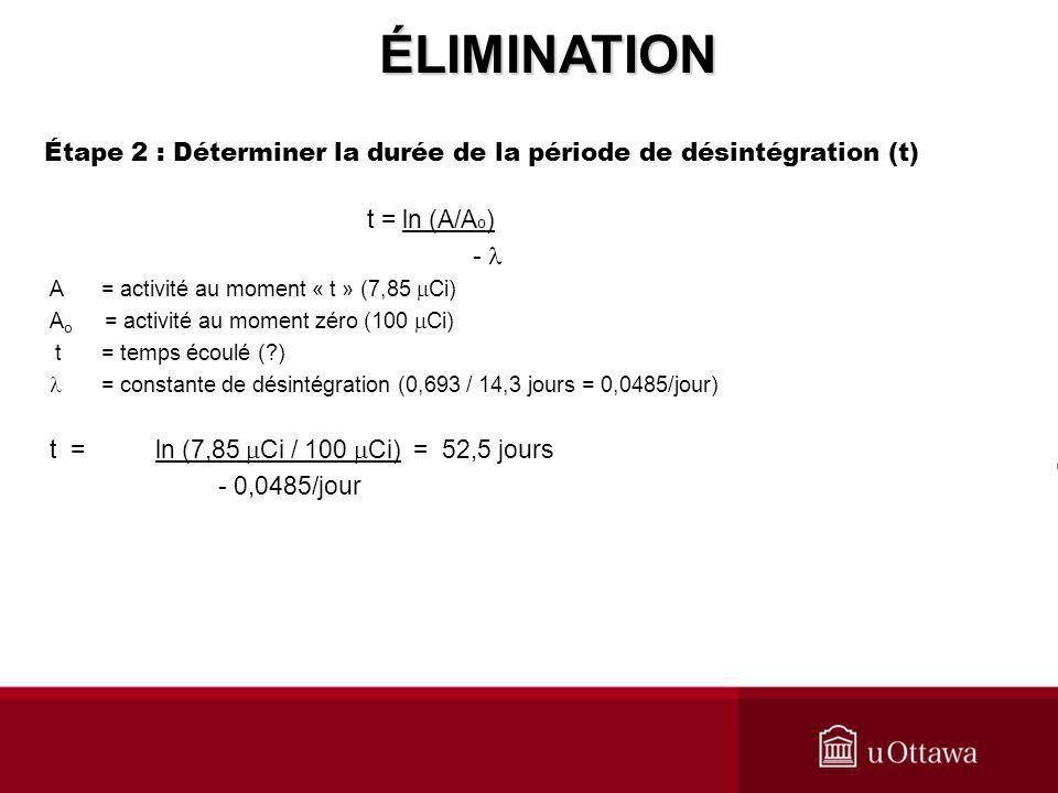 t = ln (A/A o ) - A = activité au moment « t » (7,85 Ci) A o = activité au moment zéro (100 Ci) t = temps écoulé (?) = constante de désintégration (0,