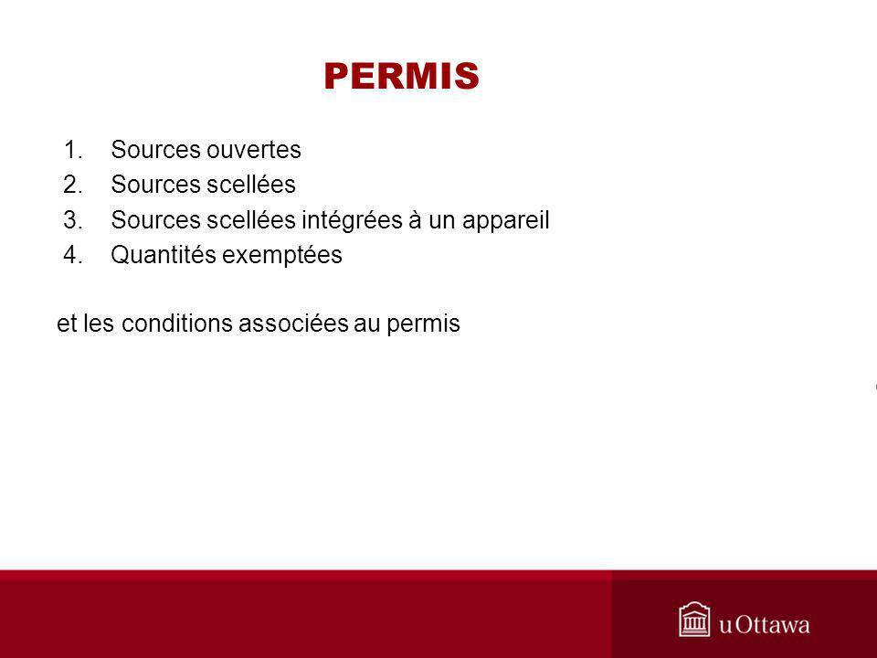 PERMIS 1. Sources ouvertes 2. Sources scellées 3. Sources scellées intégrées à un appareil 4. Quantités exemptées et les conditions associées au permi