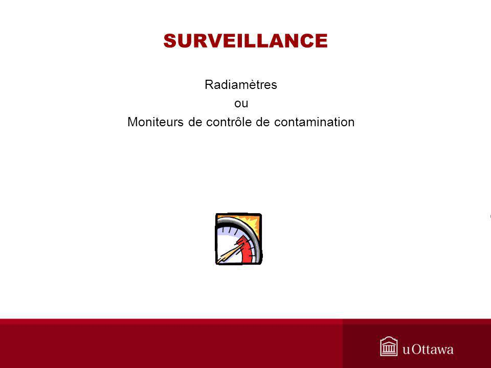 SURVEILLANCE Radiamètres ou Moniteurs de contrôle de contamination