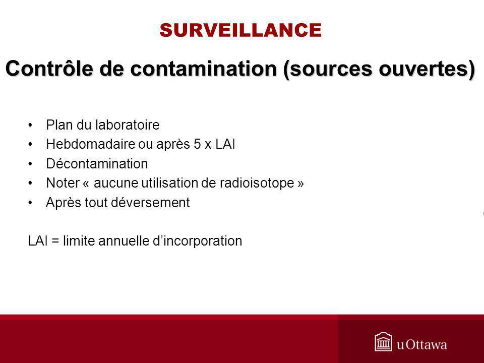 SURVEILLANCE Plan du laboratoire Hebdomadaire ou après 5 x LAI Décontamination Noter « aucune utilisation de radioisotope » Après tout déversement LAI