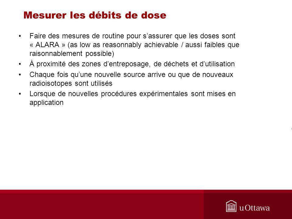 Mesurer les débits de dose Faire des mesures de routine pour sassurer que les doses sont « ALARA » (as low as reasonnably achievable / aussi faibles q